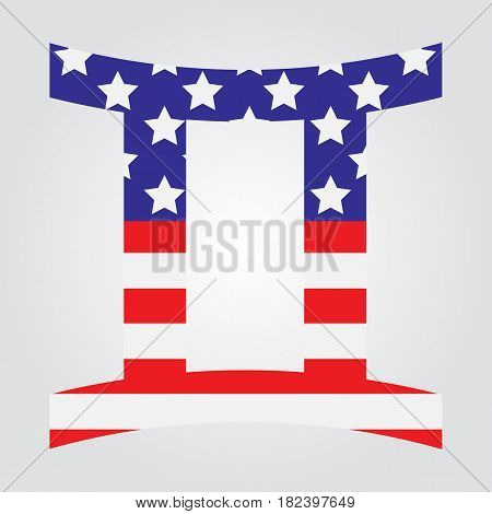 Usa Flag In Form Of Gemini Zodiac Sign