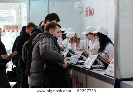 MINSK, BELARUS - April 18, 2017: Reception with registration for visitors on TIBO-2017 the 24th International Specialized Forum on Telecommunications, Information and Banking Technologies