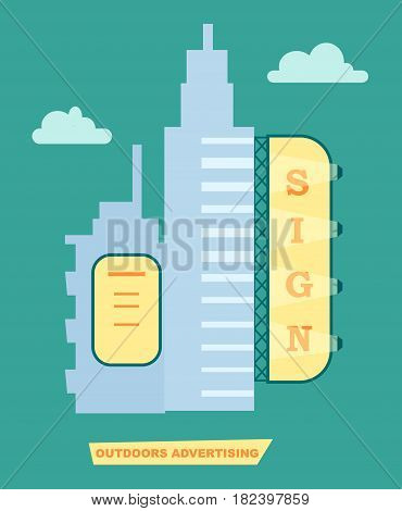 Advertising banner on building vector illustration. Urban advertisement, city billboard, blank light board for message in flat design.