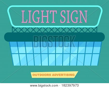 Advertising light sign on market vector illustration. Urban advertisement, marketing technology, blank board for message in flat design.