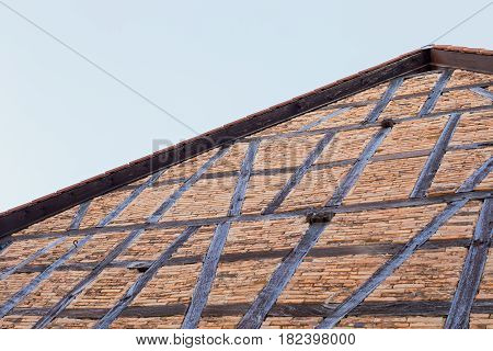 An old half-timbered house, which is being restored