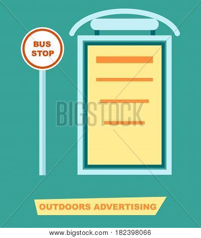 Advertising board on bus stop vector illustration. Urban advertisement, road billboard, blank light board for message in flat design.