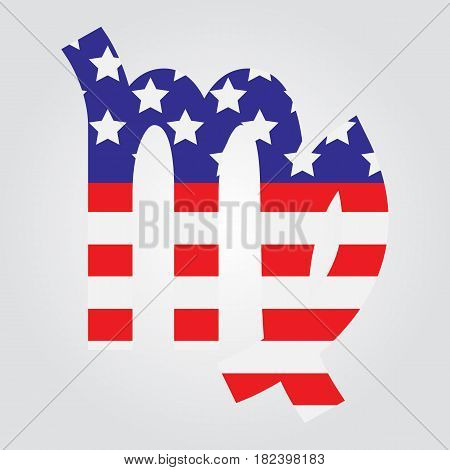 Usa Flag In Form Of Virgo Zodiac Sign