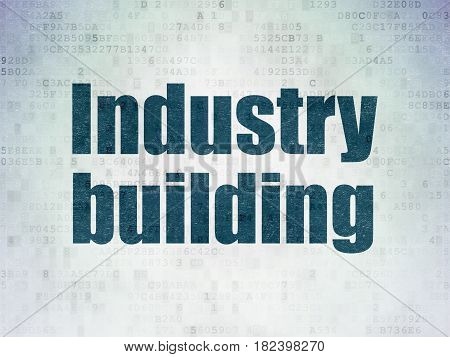 Manufacuring concept: Painted blue word Industry Building on Digital Data Paper background