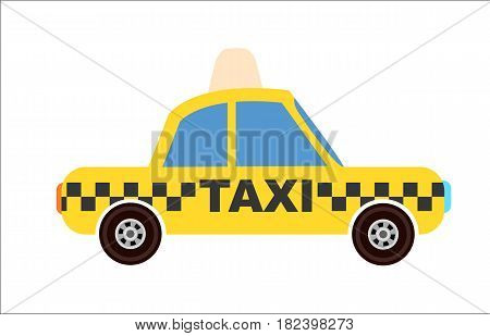 Yellow taxi cab icon isolated vector illustration on white background. Taxi service, public city transport element in flat design