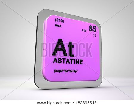 astatine - At - chemical element periodic table 3d render