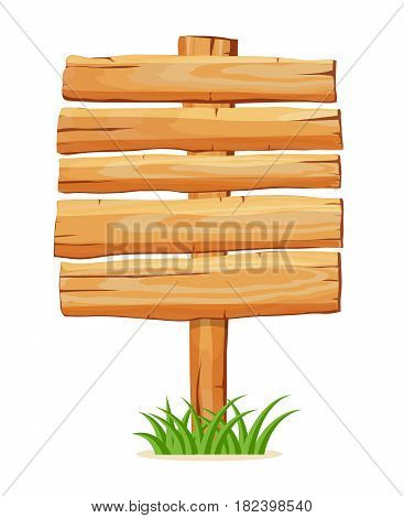 Wooden empty board for message icon isolated on white background vector illustration. Square shape wooden blank signpost in cartoon style