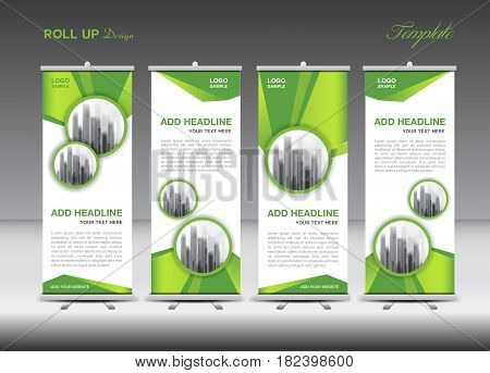 Green and white Roll Up Banner template design on polygon background Business flyer stand display advertisement j-flag pull up x-banner flag-banner abstract geometric vector illustration