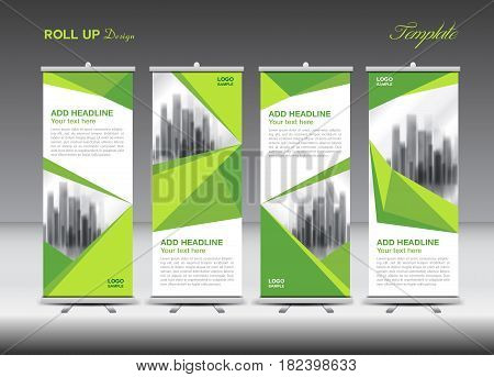 Green Business Roll Up Banner flat design template polygon background banner stand display advertisement j-flag pull up x-banner flag-banner abstract geometric vector illustration