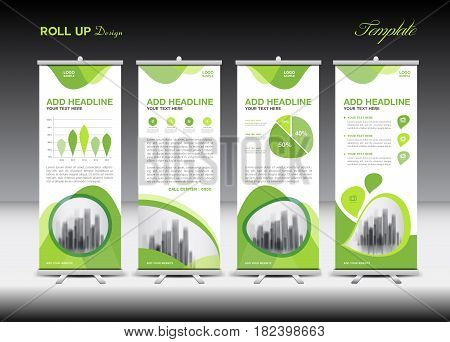 Green Roll Up Banner template and infographics stand design advertisement pull up vector illustration banner layout business flyer display x-banner flag-banner infographics presentation poster