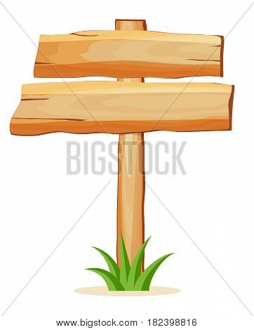 Wooden empty board for text icon isolated on white background vector illustration. Square shape wooden blank signpost in cartoon style