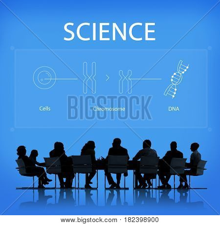 Chromosome DNA Icons Business People silhouette