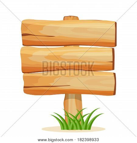 Wooden billboard for text icon isolated on white background vector illustration. Square shape wooden blank signpost in cartoon style