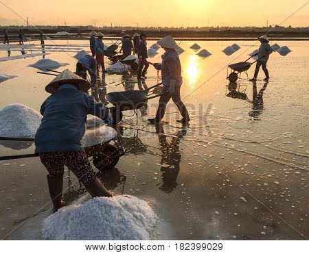 Salt Field At Sunrise In Ninh Hoa, Vietnam