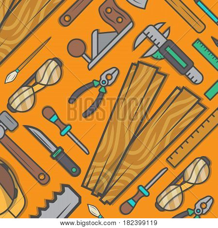 Woodworking tool set background vector illustration. Carpentry professional service, forest product, wood industry instrument. Plane, hammer, ax, saw, pliers, chisel, knife, glasses, safety helmet