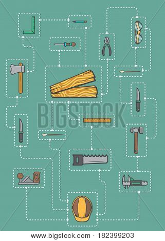 Carpentry professional service infographic concept vector illustration. Forest product, wood industry instrument, woodworker hand tool set. Plane, hammer, ax, saw, ruler, pliers, chisel, safety helmet