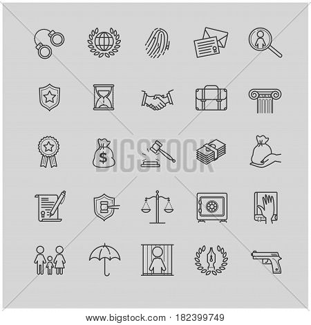 Outline icons set - law and lawyer services for your design