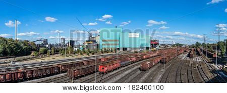 DUISBURG GERMANY - OCTOBER 06 2016 : Steel production plant HKM under the sun