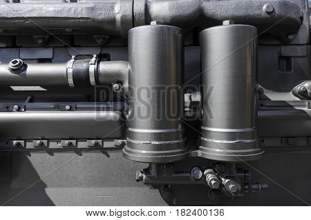 Detail of engine for construction machines such as bulldozer, tractor, excavator, loader, truck and other, heavy industry, abstraction