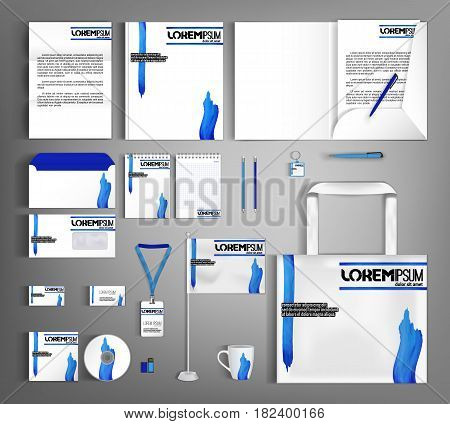 White corporate identity template design with blue wavy spots. Business set stationery, brochure, card, letterhead, catalog, pennants. Suitable for brand advertising