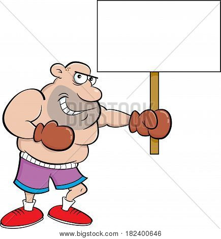 Cartoon illustration of a boxer holding a sign.