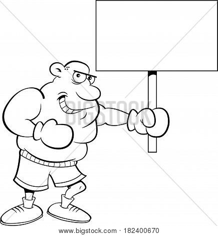 Black and white illustration of a boxer holding a sign.