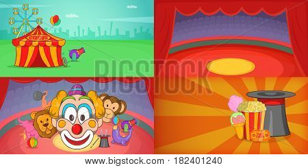 Circus banner set horizontal in cartoon style for any design vector illustration