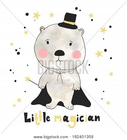Hand drawn cute bear with hand drawn lettering little magician. Can be used for t-shirt design