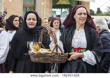 MURAVERA, ITALY - April 2, 2017: 45th Festival of citrus - Parade of folk group