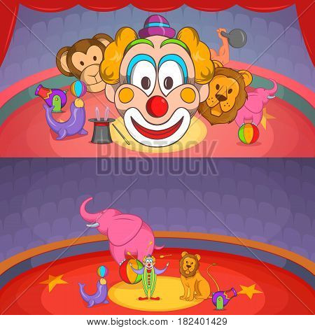 Circus show banner set horizontal in cartoon style for any design vector illustration