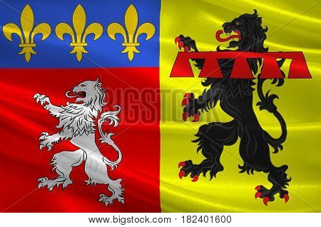 Flag of Rhone is a French department located in the central Eastern region of Auvergne-Rhone-Alpes. 3d illustration