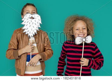 Little Children Posing Paper Craft Beard Bowtie