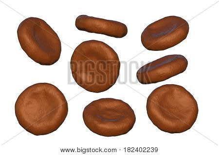 Highly detailed realistic red blood cells at different angles isolated on white background, 3D illustration