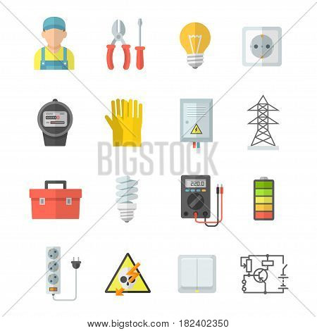 Electricity vector icons. Electrical equipment: voltmeter, screwdriver, pliers, gloves, power scheme. Home electrical accessories: lamp, socket, meter, electric guard, switch. Icons strength, voltage and energy.