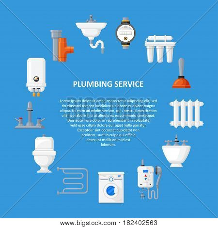 Plumbing services vector template in a flat style. Banner repair and installation of the kitchen, bathroom or toilet plumbing.