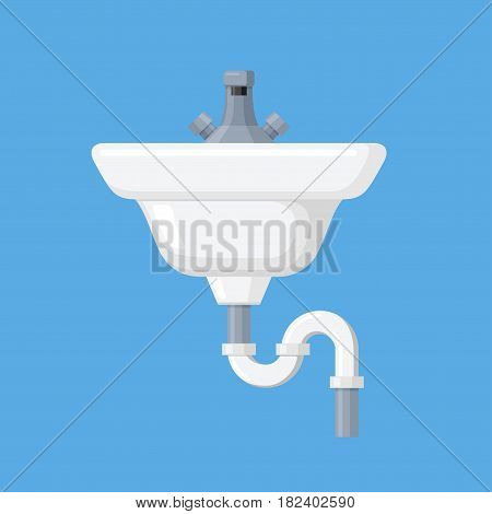 Home sink vector illustration in a flat style. Furniture for toilet, bathroom and kitchen. Icon ceramic white sink with a tap.
