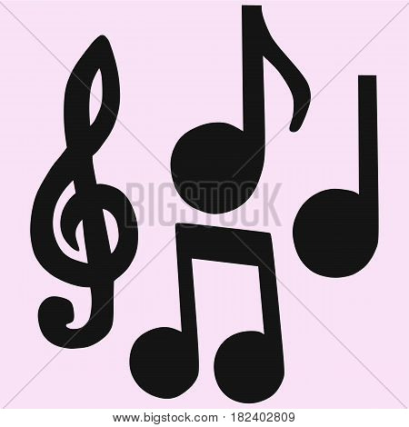 Set of Hand-drawn music notes vector silhouette isolated
