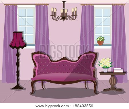 Vintage interior design house room with furniture and decoration - sofa, table, floor lamp, chandelier and two windows with curtains. Flat style vector illustration.