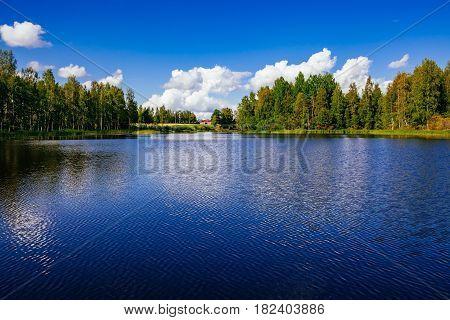 Finland Lake Landscape At Summer