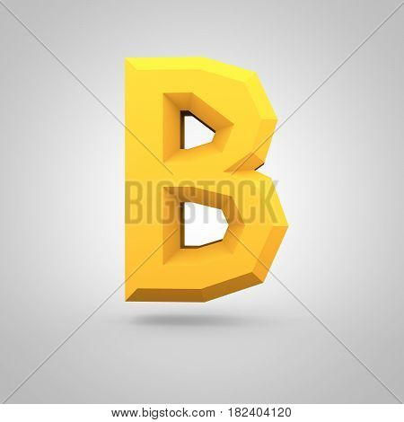 Yellow Low Poly Alphabet Letter B Uppercase Isolated On White Background.