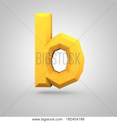 Yellow Low Poly Alphabet Letter B Lowercase Isolated On White Background.