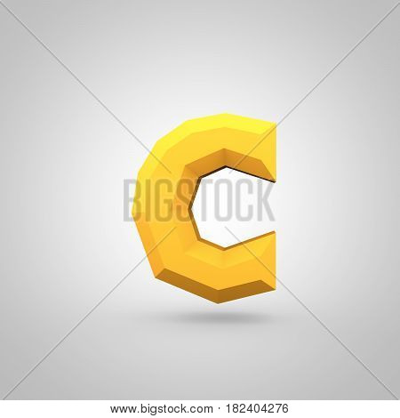 Yellow Low Poly Alphabet Letter C Lowercase Isolated On White Background.