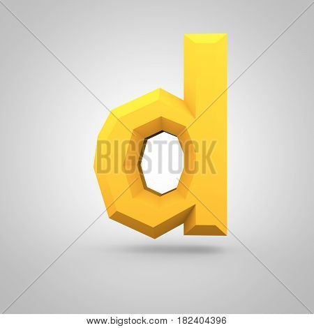 Yellow Low Poly Alphabet Letter D Lowercase Isolated On White Background.