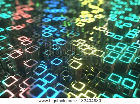 3D illustration. Abstract background made by metallic tubes reflecting colored lights.