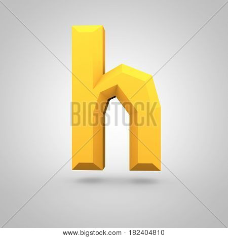 Yellow Low Poly Alphabet Letter H Lowercase Isolated On White Background.