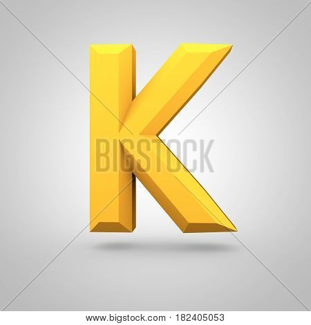 Yellow Low Poly Alphabet Letter K Uppercase Isolated On White Background.