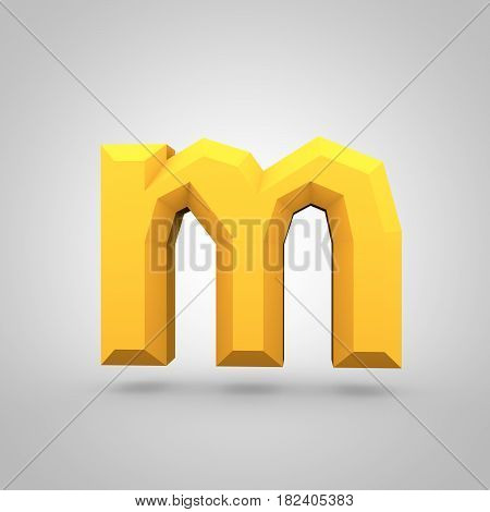 Yellow Low Poly Alphabet Letter M Lowercase Isolated On White Background.