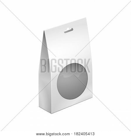 Paper Bag Package Of Coffee, Salt, Sugar, Pepper, Spices Or Flour, Filled, Folded, Close, White With Hang Slot And Round Window. Mock Up Template Ready For Your Design. Product Packing Vector EPS10