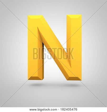 Yellow Low Poly Alphabet Letter N Uppercase Isolated On White Background.