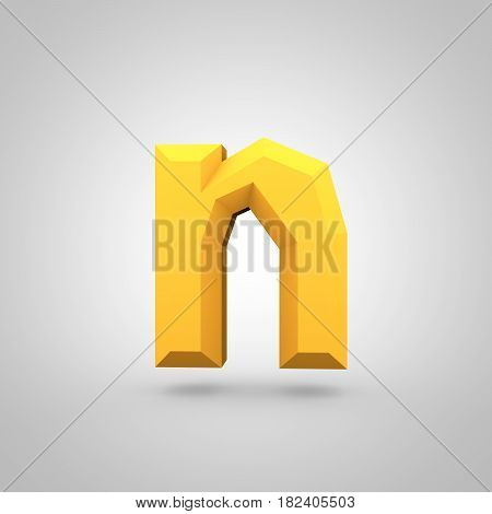 Yellow Low Poly Alphabet Letter N Lowercase Isolated On White Background.